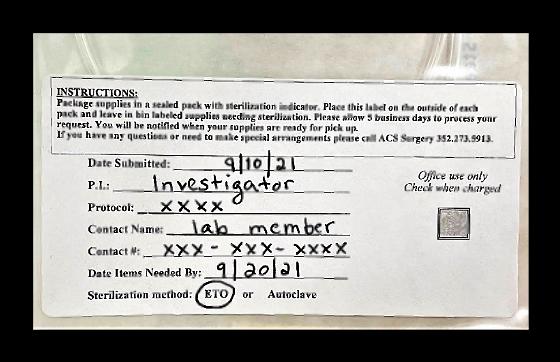 Sterilization services package label